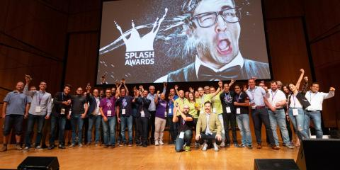 Winners of international Splash Awards on stage